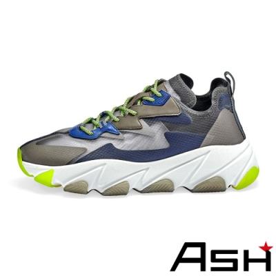 ASH-EROS潮流蟬翼透氣休閒撞色運動增高老爹鞋-藍