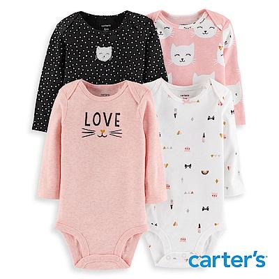 Carter's 貓咪印圖4件組長袖包屁衣