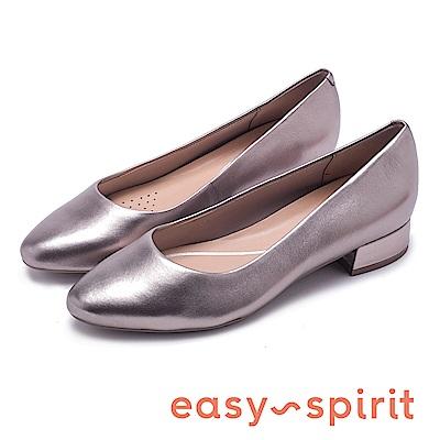 Easy Spirit SECALDISE 真皮尖頭低跟鞋-錫色