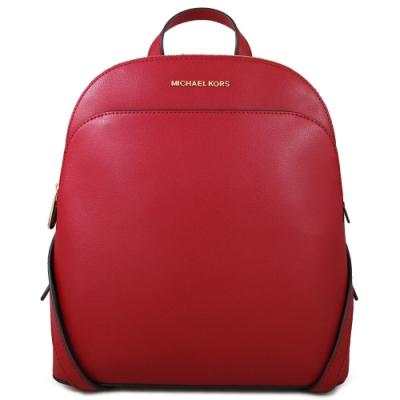 MICHAEL KORS Emmy 金字Logo全皮革雙肩貝殼款後背包(緋紅色)