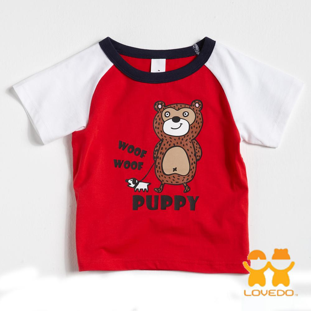 【LOVEDO-艾唯多童裝】悠哉小熊  拼色短袖T恤 (紅)