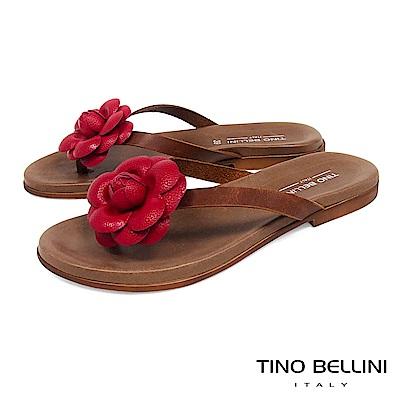 Tino Bellini 義大利進口立體花妍平底夾腳涼拖鞋 _ 紅