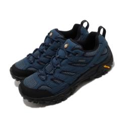 Merrell 戶外鞋 Moab 2 GTX 低筒 男鞋 登山 越野 耐磨 黃金大底 防潑水 藍 黑 ML034787