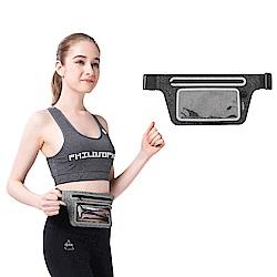ROCK 輕薄視窗款運動腰包 超薄型貼身 多功能戶外手機收納包 跑步腰套 -黑色