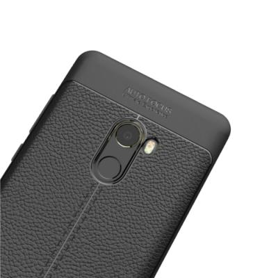 PKG 小米Mix2 手機殼-商務時尚款抗指紋-皮紋黑