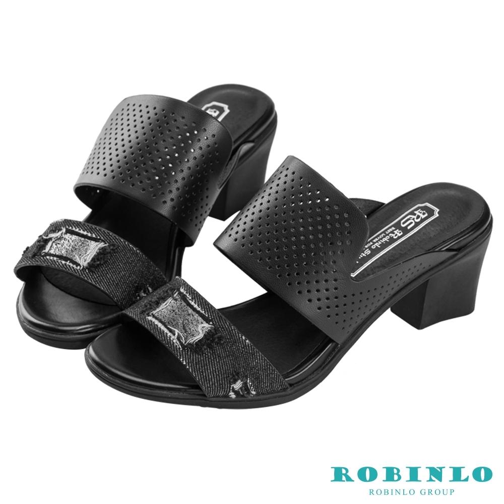Robinlo個性異材拼接寬帶中跟涼拖鞋 黑色