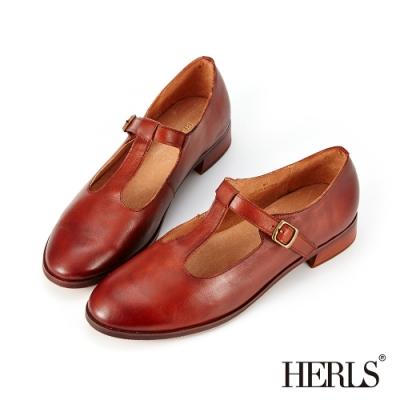 HERLS低跟鞋-全真皮T字瑪莉珍鏤空復古低跟鞋-棕色