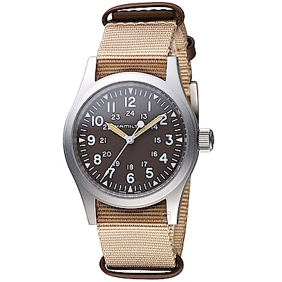 Hamilton漢米爾頓卡其野戰系列軍事腕錶(H69429901)-咖啡