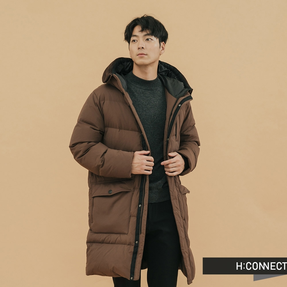H:CONNECT 韓國品牌 男裝-連帽長版羽絨外套 - 咖啡(快)