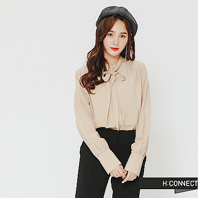 H:CONNECT 韓國品牌 女裝-氣質綁結襯衫-卡其