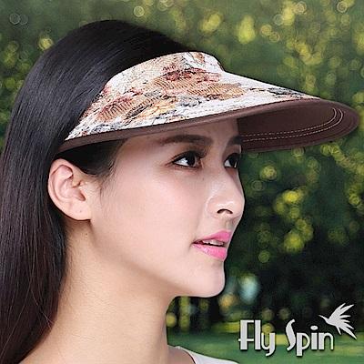 FLYSPIN 女款金蔥花布遮陽網球帽空心帽