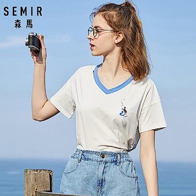 SEMIR森馬-小美人魚優雅刺繡V領撞色短袖T恤-女(2色)