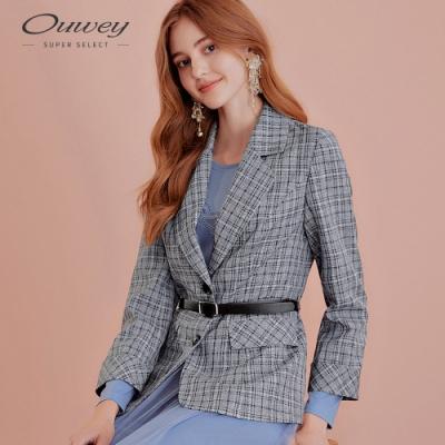 OUWEY歐薇 格紋質感西裝外套(藍)