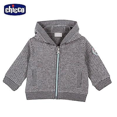 chicco-小熊家族-夾棉條紋連帽外套