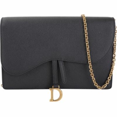 Dior Saddle 大型 粒面小牛皮鍊帶手拿/肩背晚宴包(黑色)