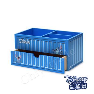 CY本舖 【迪士尼Disney】史迪奇 貨櫃屋造型 分格筆筒 單抽屜 收納盒 桌上收納 文具收納(正版授權)