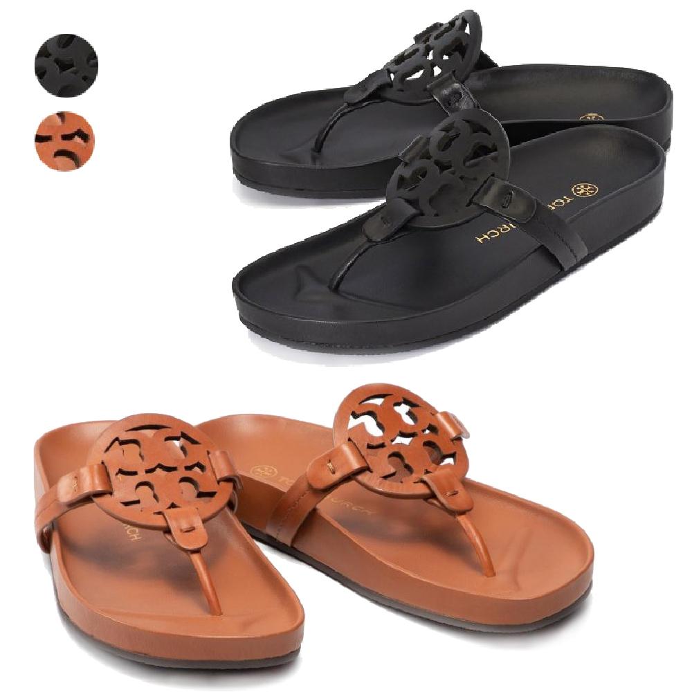 [時時樂限搶]TORY BURCH Miller系列 品牌logo皮革夾腳涼鞋 (2色任選)