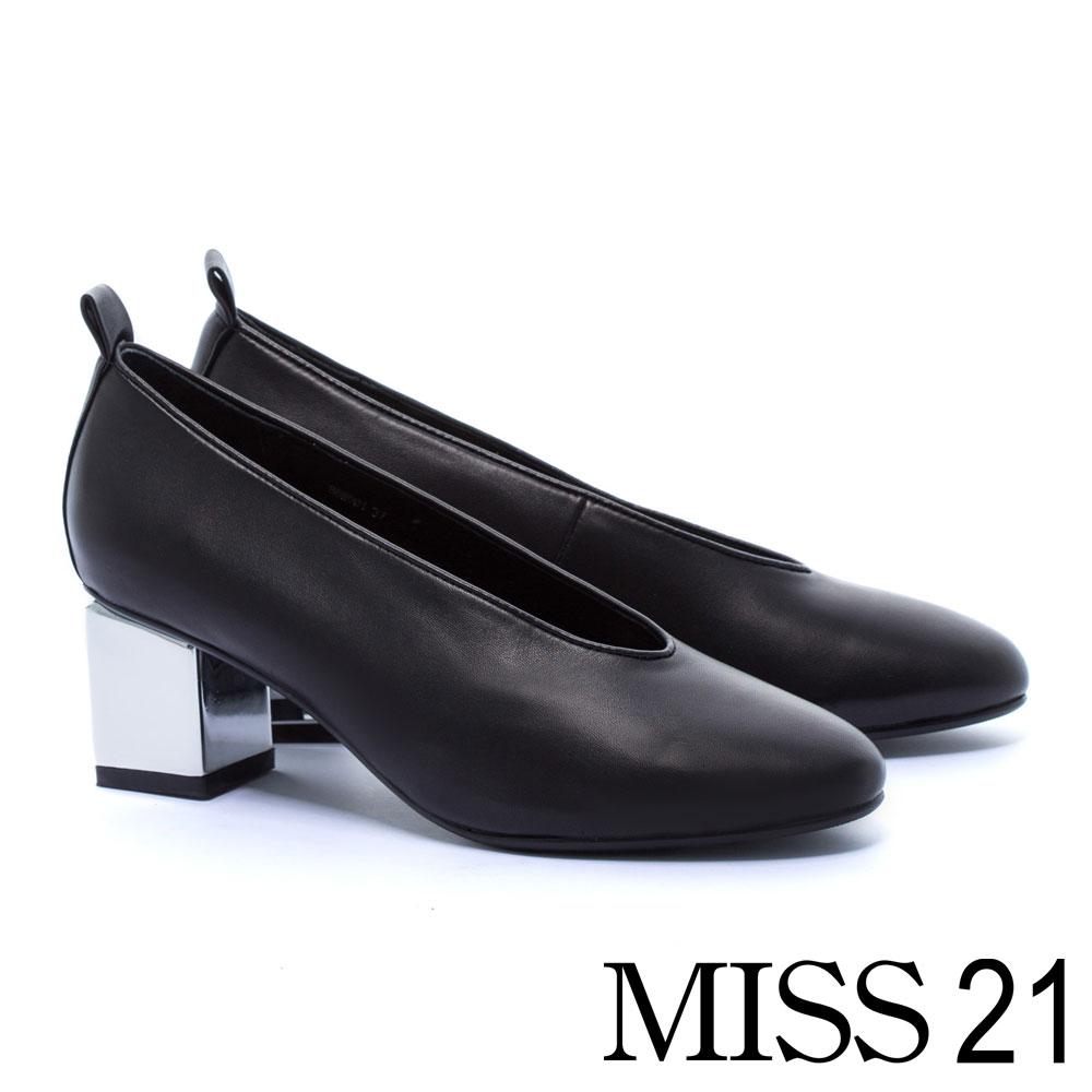 跟鞋 MISS 21 獨特復古輪廓全真皮純色高跟鞋-黑 @ Y!購物