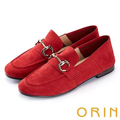 ORIN 復古樂活主義 經典馬蹄扣牛皮平底鞋-紅色