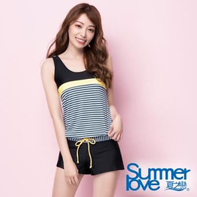 夏之戀SUMMER LOVE 連身褲條紋二件式泳衣