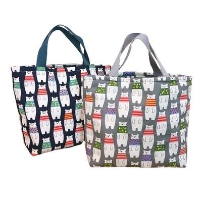 【優貝選】日系大白熊多用途 保溫 防水小手提包/便當袋/午餐提包(2色)