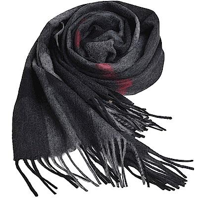 BURBERRY 經典大方格紋喀什米爾羊毛披肩/圍巾(黑灰/大 200x36cm)