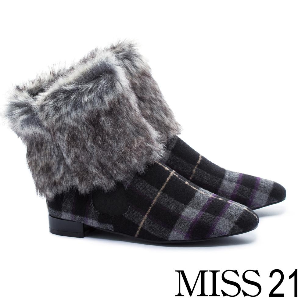 低跟鞋 MISS 21 復古極簡派保暖兩穿式方頭低跟鞋-格紋