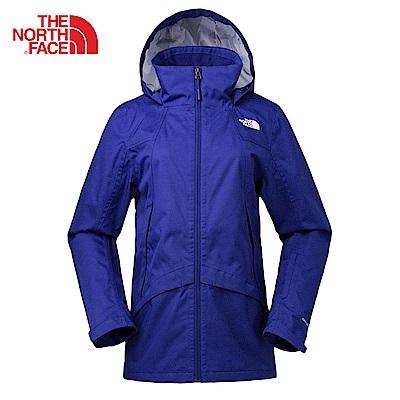 The North Face北面女款藍色防水透氣衝鋒衣|3KTOZDE