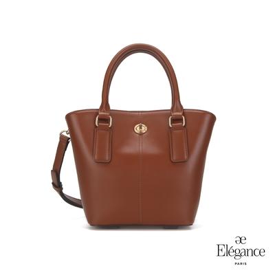 【Elegance】MONA 轉鎖手提兩用包-棕色