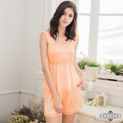 大尺碼 甜美粉橘系居家衣短褲套裝組 粉橘 L-2L Annabery