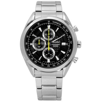 SEIKO 精工 PRESAGE 立體 層次面板 三眼計時 不鏽鋼手錶-黑色/45mm