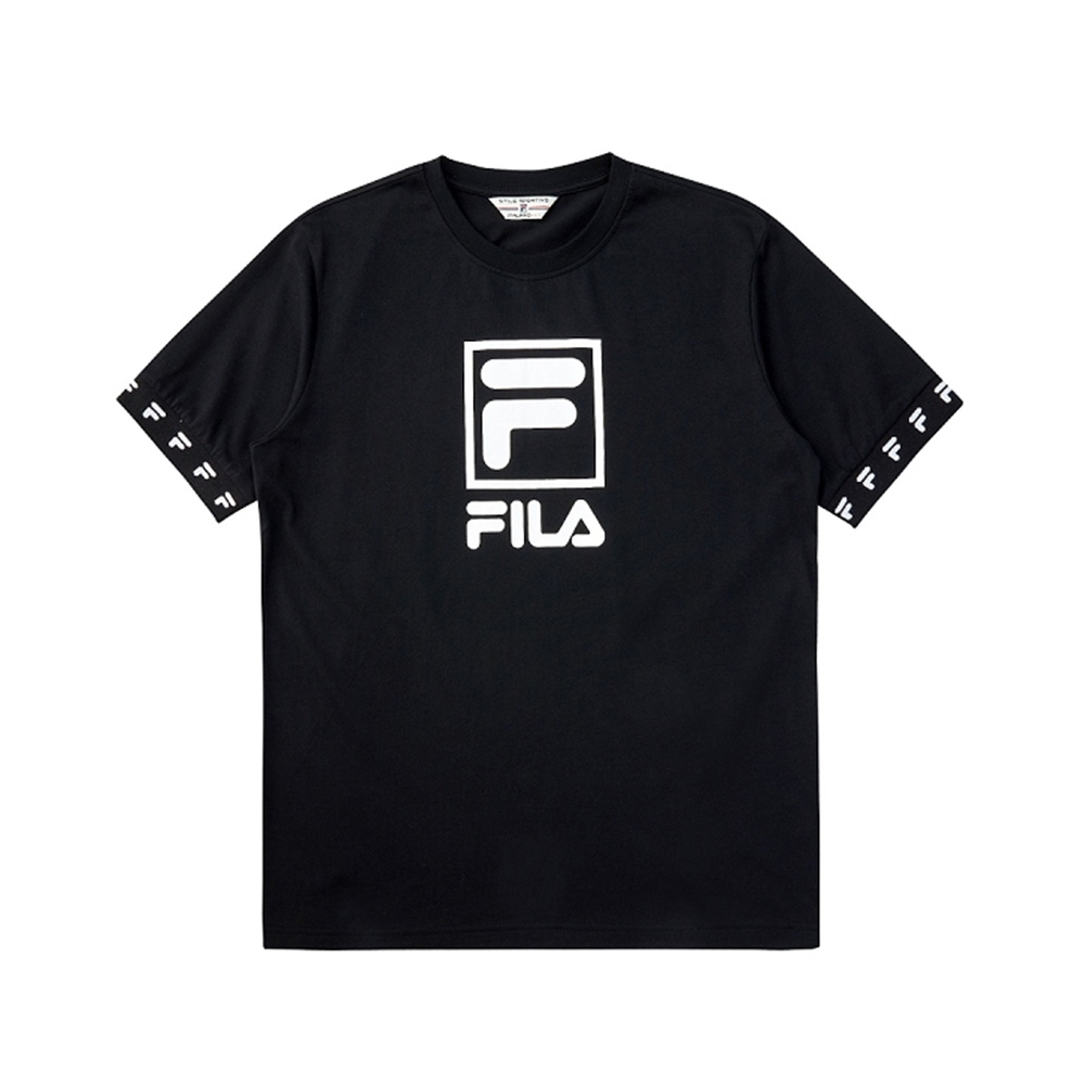 FILA #架勢新潮 短袖圓領T恤-黑色 1TEV-1416-BK