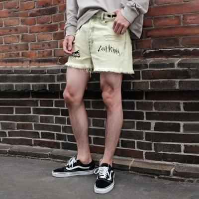 丹寧牛仔短褲印字印刷(1色) ZIP日本男裝