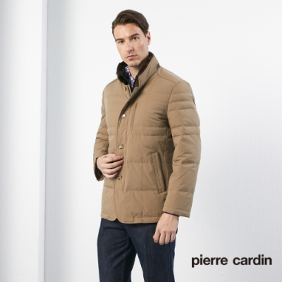 Pierre Cardin皮爾卡登 男裝 進口素材毛領羽絨外套-卡其色(5185704-82)
