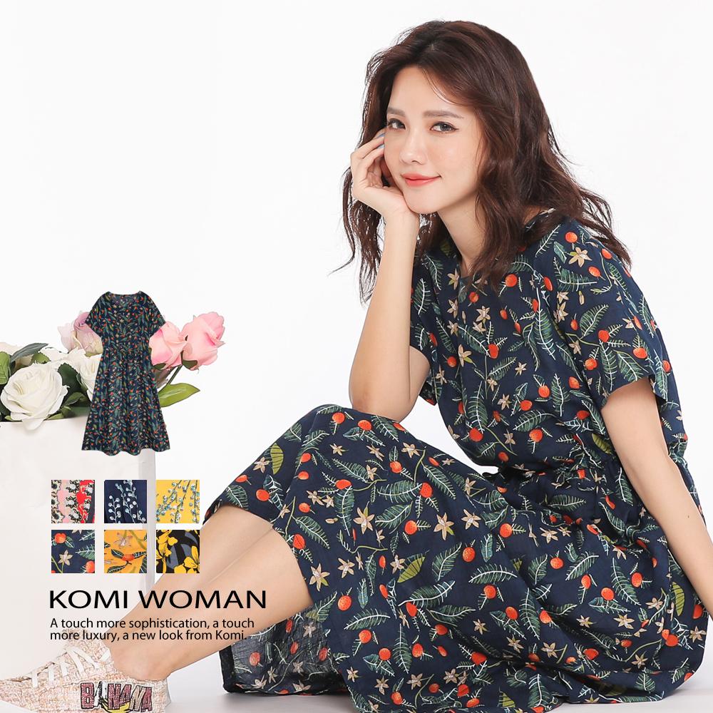 【KOMI】繽紛花朵腰抽繩棉口袋長洋裝‧六色