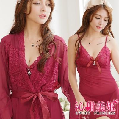 罩衫三件式 奢華網紗睡衣裙組 細肩帶深V水鑽吊墜 沁甜美姬(棗紅)