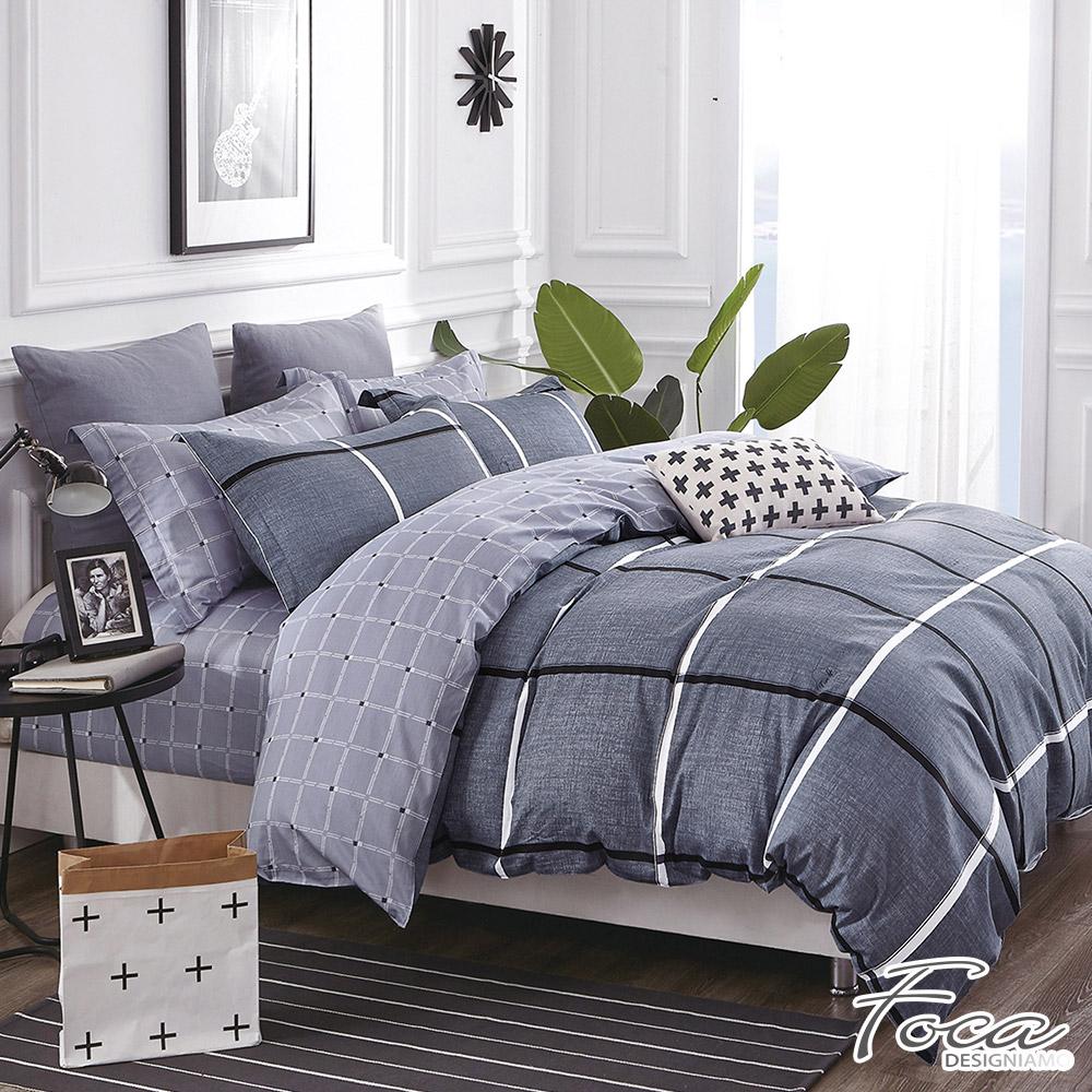FOCA夏沐格-單人-韓風設計100%精梳純棉三件式薄被套床包組