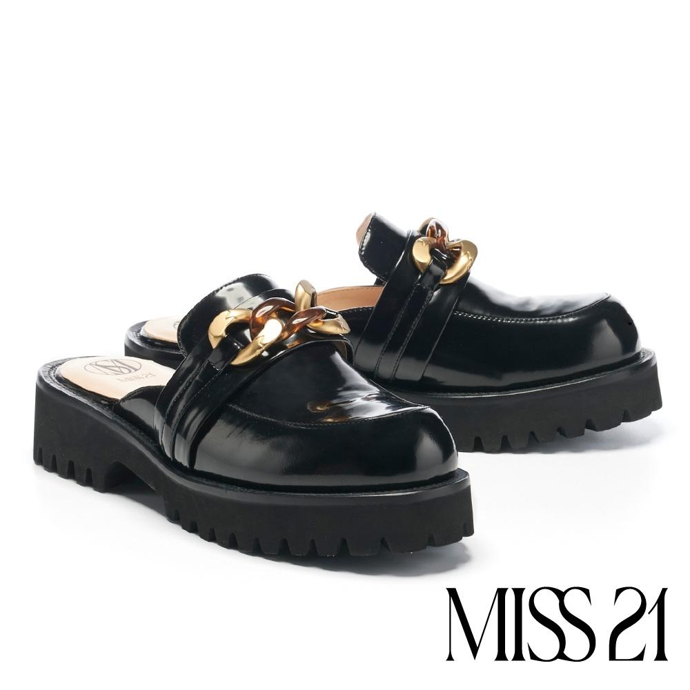 拖鞋 MISS 21 個性復古金屬鍊條穆勒坦克厚底拖鞋-黑