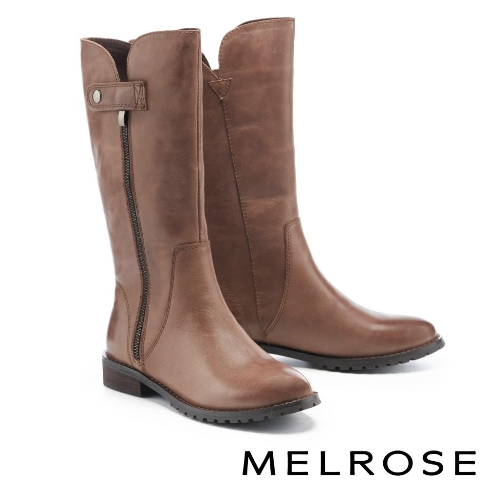長靴 MELROSE 時髦率性牛皮純色繫帶造型低跟長靴-咖
