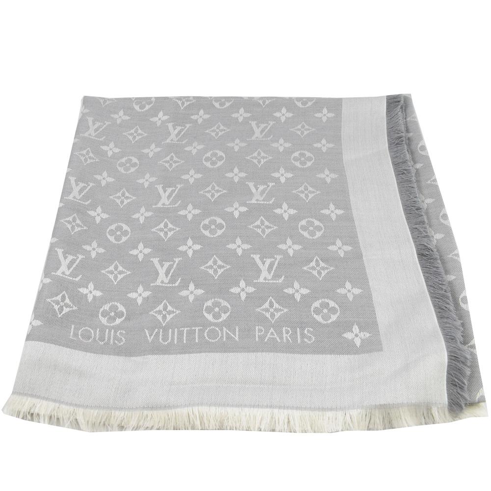 LV M70804 經典花紋LOGO羊毛圍巾大方巾(珍珠灰)