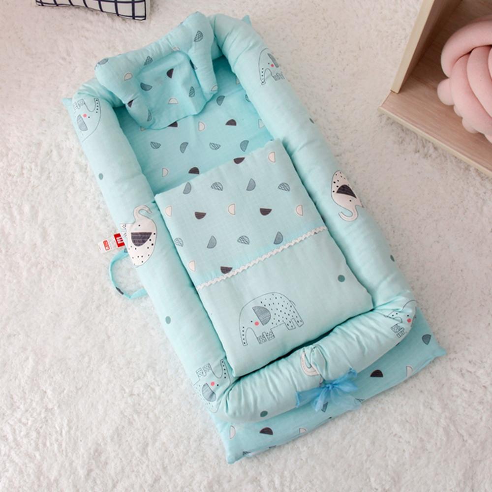 雙層紗純棉多功能床中床/可折疊式嬰兒床包/便攜式母嬰包外出手提旅行床 小花象藍 有被子