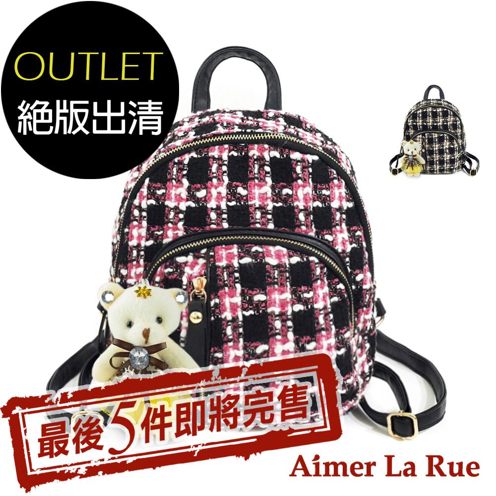 Aimer La Rue 後背包 學院格紋毛呢系列-贈小熊(二色)(絕版出清)