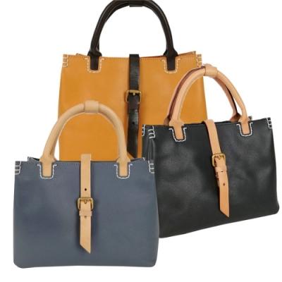 Jills 植鞣皮革艾譜莉雙色手提包 共三色