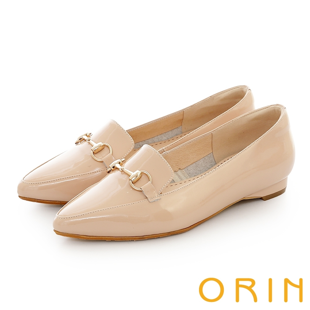 ORIN 氣質馬銜釦百搭樂福 女 平底鞋 裸色