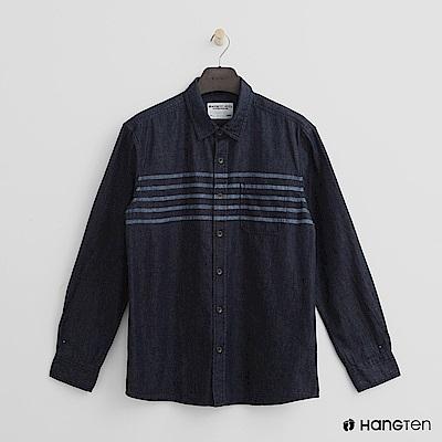 Hang Ten - 男裝 - 線條感棉質襯衫 - 藍