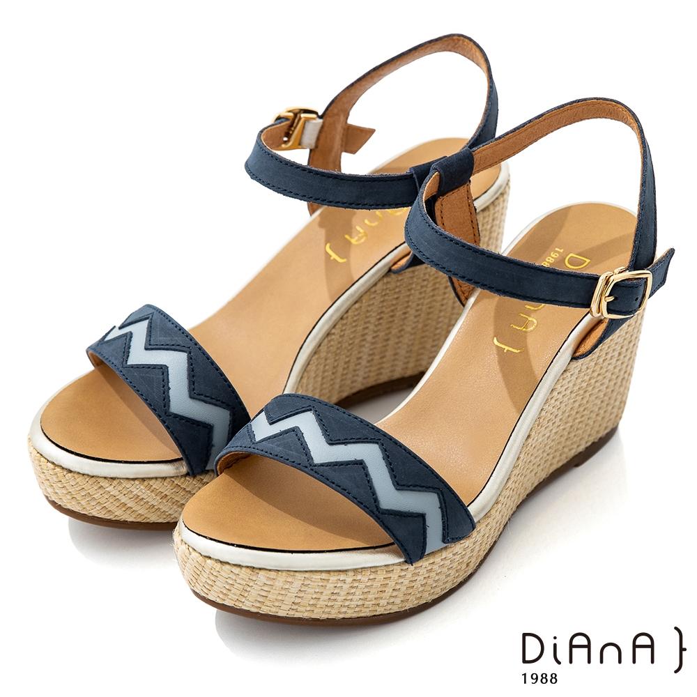 DIANA 9cm質感牛皮民族風圖騰草編楔型一字涼鞋-異國風情-深藍