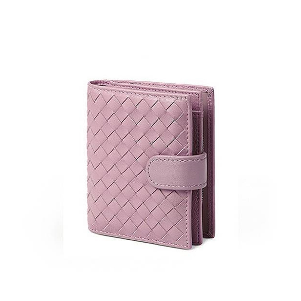 玩皮工坊-真皮羊皮編織多隔層女士皮夾皮包錢夾錢包短夾女夾KN24