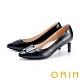 ORIN 金屬釦環羊皮尖頭 女 高跟鞋 黑色 product thumbnail 1