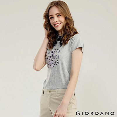 GIORDANO 女裝可愛植物印花短袖T恤-01 中花灰