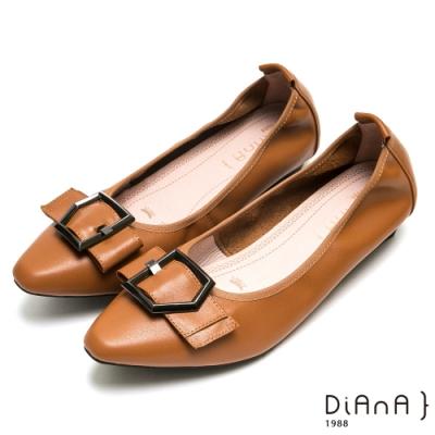 DIANA都會時尚穿孔寬帶尖頭平底鞋-漫步雲端厚切焦糖美人-棕